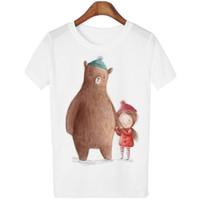 Wholesale School T Shirts Wholesale - Wholesale-Dingtoll Plus Size White Lovers T-shirt School Harajuku Mujer Short Sleeve Tees