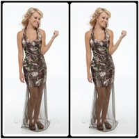 Sexy Halter Neck Camo Mantel Prom Kleider Tulle Rock Süß Zug schlanke Brown Abend Party Kleider Long Wear Günstige Custom Camouflage Real Tree