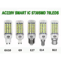 Wholesale G9 Led Cold White - 2017 hot selling 220v warm and cold color corn led light lamp 5730 chip led light E27 B22 E14 GU10 G9 head 7W 5730 SMD LED light
