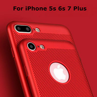 Wholesale Hollow Iphone Cases - 2017 New Explosion models For Apple 7plus red cooling phone shell iPhone 5 6s hollow matte full package hard shell protective cover