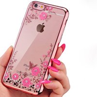 Wholesale Secret Case Iphone - Luxury Bling Diamond Electroplate Soft TPU Case For iPhone X 8 7 6 6S Plus Samsung S7 edge S8 Plus Note 8 Secret Garden Flower Clear Cover