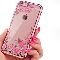 blumen-garten iphone großhandel-Weiche TPU Diamant Electroplate klarer Fall für iPhone X Xr Xs Max 8 7 6 Plus Samsung S8 S9 Plus Anmerkung 8 9 Secret Garden Flower Transparent Cove