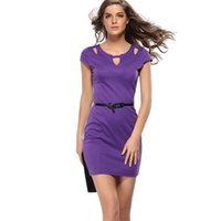 Vestito viola dalla signora viola Womens Elegante Sexy Cutout Keyhole Vintage Pinup Slim Casual Club Cocktail Club Incorporato Bodycon Abito Guarnizione Di Fodero G43