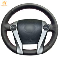 Wholesale Prius Cover - Mewant Black Genuine Leather Car Steering Wheel Cover for Toyota Prius 2009-2015