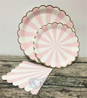 Wholesale-8 Sets Pink Stripe Gold Foil Platos de papel de festón Large 9inch Plato de fiesta Small 7inch Plates Paper Servilletas para Baby Shower