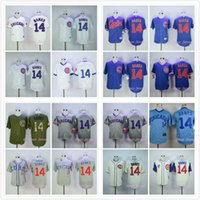 Wholesale Ernie Banks Jersey Retro Chicago Cubs Flexbase Baseball Jersey Cool Base Blue White Gray Gold World Home Stitched