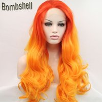 Wholesale Yellow Lace Wig - Bombshell Orang Roots Ombre Yellow Body Wave Synthetic Lace Front Wig Glueless Heat Resistant Fiber Natural Hairline For Black White Women