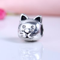 Wholesale Cute Cat Jewelry - New Real 925 Sterling Silver Not Plated Cute Cat Charms European Charms Beads Fit Pandora Bracelet DIY Jewelry