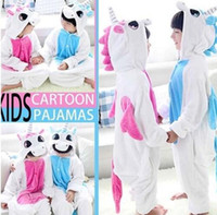 Wholesale Home Nightgown - Flannel Unicorn Pajamas Kids Cosplay Cartoon Animal Baby Boys Girls Pajamas Home Clothes Pajamas One piece Sleepwear KKA2878