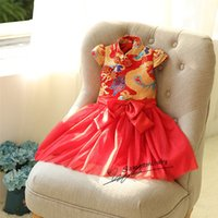 Wholesale Wholesale Cheongsam Red - Girls winter new embroidery cheongsam dress short-sleeved dress red woven dresses in the New Year for 3-7y