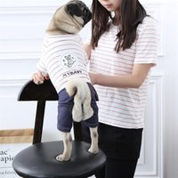 Wholesale Lounge Costumes - Large Dog Clothes Cute Look Stripes Jumpsuits Household Clothing Style 6 Sizes Cotton Maded Lounge Out Walking Costumes Pet Supplies