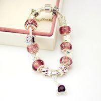 encanto european purple murano beads venda por atacado-Estilo europeu de Prata Banhado A Pulseira De Charme De Cristal para As Mulheres Com Contas de Vidro Murano Roxo DIY Jóias