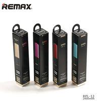 banka ruj toptan satış-Remax RPL-12 2400 mAh Mini Ruj Tasarım Güç Bankası Yedekleme Ekstra Güç Bankası Harici Pil Paketi Acil Yedekleme Güç Hediye FEDEX UPS