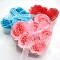 ingrosso petali di rosa sapone a mano-Eco-Friendly Sapone Cuore figura del fiore Handmade dei petali di Rosa Rosa frower Paper Soap miscela di colore (6pcs = 1box) 9.5 * 9 * 4cm