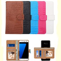 Wholesale Lg Flip Phone Leather Case - Universal Wallet PU Flip Leather Case crocodile print Rotating Phone Cover For 4.8 5.3 5.5 6.0 inch for Mobile Phone iPhone Samsung