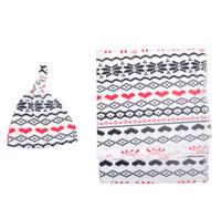 Wholesale Cotton Bar Girl - INS Infant blanket baby girls boys christmas moose muslin blanket+hat 2pc sets newborn kids love heart printed cotton sleep sack R0129