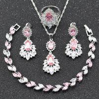 conjunto de jóias de topázio rosa venda por atacado-2017 Venda Quente Rosa Topázio Branco 925 Sterling Silver Jewelry Set Para As Mulheres Colar / Brinco / Pulseira / Anel Para O Presente de Natal Jóias B26