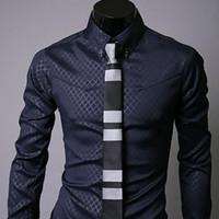 Wholesale Lapel Plaid Shirt - New Mens Casual Slim Lapel Plaid Long-Sleeve Business Shirts Rhombus Shaped Concealed Pattern Male Formal Shirts M-XL