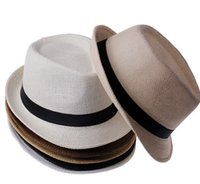 Mode Sommer Stroh Frauen Sonne Hüte Fedora Trilby Gangster Cap Sommer Strand Sun Stroh Panama Hut mit Ribbow Band Sunhat