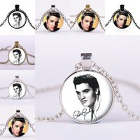 Wholesale Elvis Wholesale - Celebrity The King of Rock Elvis Presley Glass Cabochon Necklace Time Gem Stone Necklaces for Women Men fashion Jewelry 161770