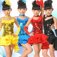 Wholesale Kids Tango Dresses - Girls Sequined Latin Dance Dress Ballroom Stage Wear Black Tango Dress Kids Salsa Dance Skirt Competition Dancewear Cotumes