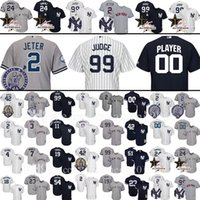 Wholesale New Jersey Yankees - Custom New York Yankees 99 Aaron Judge 2 Derek Jeter Baseball Jersey 23 Mattingly Sanchez Mariano Rivera Ruth Mantle Gardner Gardner Jerseys