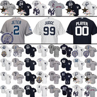 Wholesale Custom New York Yankees Aaron Judge Derek Jeter Baseball Jersey Mattingly Sanchez Mariano Rivera Ruth Mantle Gardner Gardner Jerseys