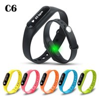 Wholesale Oled Display Bracelet - C6 Smart Wristband OLED Display touch button Fitness Bracelet Heart Rate Monitor Sleep Tracker Pedometer Health Clock