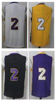 Maillot Amarillo Para El Baloncesto Baratos-Hombre Basketball Retro Lakerz # 2 BALL Blanco Purple Balck Yellow Jerseys Short
