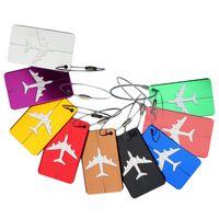 кольца для ключей оптовых-Алюминиевый сплав посадочный талон самолет самолет багаж ID Теги интернат путешествия адрес ID карты случае сумка этикетки карты тег брелоки WX-H12