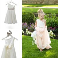 Una spalla A Lunghezza Custom Line Cute Little Flower Girl Dress Piano Hand Made Flowers archi bambini Prom compleanno Dress Cheap 30