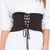 Wholesale Womens Wide Black Corset Belt - New Arrival Fashion Women Denim Womens Waist Belt Corsets Belt Front tie-up Back Zipper Womens' Wide Casual Belt Size S-XL