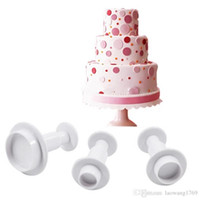 Wholesale Round Cake Decorating - 3 PCS New Round Fondant Cake Decorating Sugar craft Plunger Cutters Tools Mould Mold ZH849