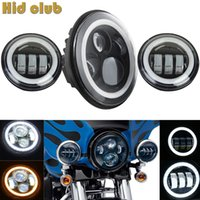 1X 7inch Halo Headlight + 4,5 polegadas Motorcycle Led Headlight Led Fog Light Preto Auxiliary Passing Fog Lights For Harley