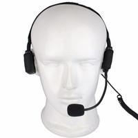 walkie militar al por mayor-Dedo PTT MIC Military Bone Conducción Tactical Headset Auriculares para Walkie Talkie Midland G5 / G6 GXT400 LXT110 Radio C2221