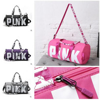 Wholesale European Girls Totes - Handbags Duffle Bags Fashion 9 Designs Women Love VS Pink Large Capacity Travel Striped Waterproof PINK Beach Shoulder Bag DHL Free Shipping