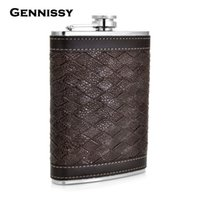 Wholesale Wholesale Flask Personalized - Wholesale- GENNISSY Personalized Alcohol Flask 9 oz Grid Pattern PU Leather Stainless Steel Mini Hip Flask Camp Outdoor Portable Hip Flask