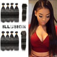 Wholesale Indian Remy Hair Wholesale Wig - Virgin Human Hair 4x4 Lace Closure Brazilian Straight Brazilian Hair 4Bundles Remy Human Hair Wigs For Black Women
