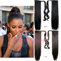 Wholesale Clip Long Straight Ponytail - Wholesale-24 inch Long straight Ponytail 16color avilable Ribbon Ponytail Hair Extensions Clip In ponytails Hair Extensions Fake ponytails