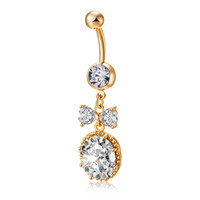 Wholesale Navel Ring Bowknot - Luxury Sweet Belly Ring for Girls AAA Cubic Zirconia Sparky Bowknot Belly Ring Piercing Dangle Navel Body Jewelry Piercings Ring P0212