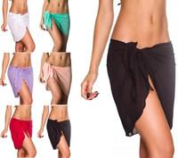 Wholesale Pink Pareo Wrap - Swimwear Chiffon Cover Up Beach Sarong Pareo Canga Swimsuit Wrap Black 6 colors Mini Yarn Skirt Beach Pants Sun Bath Shade Cloth