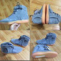 Wholesale Cheap Gum - Boost 750 Light Grey Gum Glow In The Dark Kanye West Shoes Basketball Shoes Sneakers Cheap 750 Boost Men Sports Casual Boosts