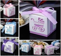 Wholesale Pink Baby Shower Favor Box - Levitation Multi 2016 Rushed Belenes Navidad Promotion 50pcs Light Blue Baby Carriage Candy Box Wedding Shower Favor Paper Favour Gift