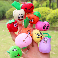 Wholesale Toy Baby Fruit - 10 styles Cute Fruit Vegetable Finger Puppets toys short floss Baby Hand Puppet toy Kids baby early education Finger Toy Storytelling props