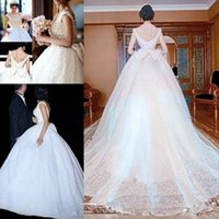 Wholesale Low Back Bow Wedding Dress - Ball Gown Wedding Dresses With Long Train Bow Beads Scoop Vintage Lace Wedding Dress Low Back Sexy Custom made Retro Bridal Gowns