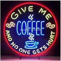 néon, café, sinais venda por atacado-Give Me Café Ninguém Fica Ferido Sinal de Néon Personalizado Artesanal Real Bar De Vidro Bar KTV Clube Loja Display Sinais de Néon 18