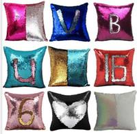 Wholesale Bling Weave - 2017 New Magic Reversible Bling Bling Sequin Mermaid Glitter LETTER Pillow Case