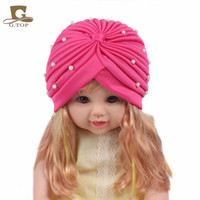 Wholesale Cheap Cute Baby Girl Headbands - Cheap New fashion girls Soft Cute beaded pearl Headbands baby children Cute Turban hat Indian Caps