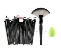Wholesale 22pcs Makeup Brushes - 22pcs Makeup Brushes Sets fan brush Oval Powder Brush Sponge Cosmetic Puff water drop Foundation Blush Brush Cleaner Cosmetic Tool Kit