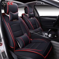 Wholesale Leather Car Seat Universal - Brand New Luxury PU Leather Car Seat Cover Front&Rear Automobile Seat Covers Complete Set Universal 5 Seats Interior Accessories